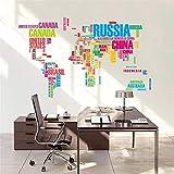 1THTHT1 Grand Monde Carte Stickers Muraux OriginalLettres Créatives Carte Wall Art Chambre Décorations pour La MaisonStickersMuraux...