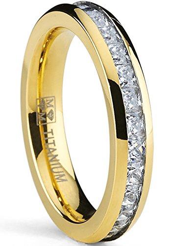 4MM Damen Vergoldete Prinzessin Schnitt Ewigkeit Titan Ehering Mit Zirkonia,Bequemlichkeit Passen,Größe 54 Damen Titan Ehering 4mm