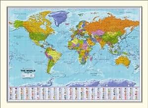 Large framed world map 54 x 38 amazon kitchen home large framed world map 54quot gumiabroncs Choice Image