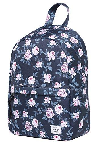 OLETHA Damen Mini Klein Rucksack Handtasche | A4 Größe | 34x23x11cm | Graue Rosen (Mini-rucksack Graue)