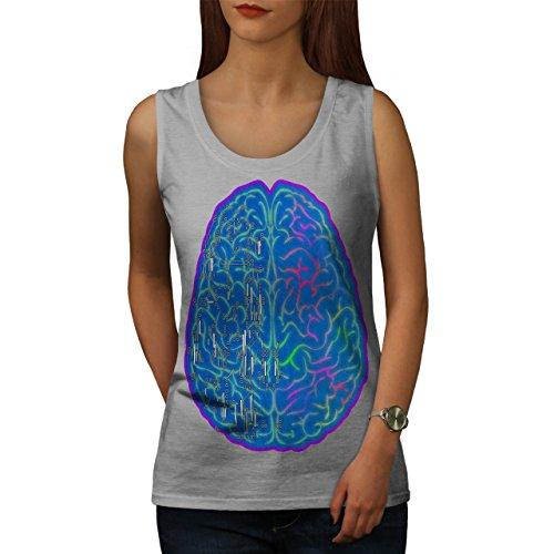 Wissenschaft Kreativität Gehirn Seite Damen Schwarz S-2XL Muskelshirt | Wellcoda Grau