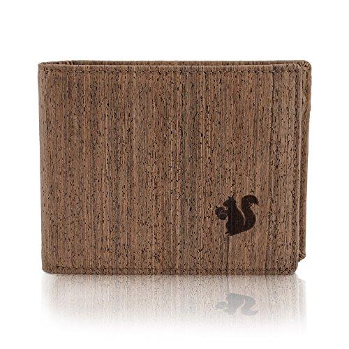 ACHERLA | Leichtes Bifold Herren Portemonnaie vegan aus Kork (dunkel) mit Geschenkbox wasserabweisendes, Robustes, Handmade Portemonee (dunkel) (Schlange Designer-schuhe)