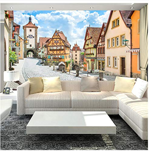 Finloveg 3D Landhausstil Wandbild Landschaft Straße Und Häuser Fototapete Bettwäsche Zimmer Tv Hintergrund D Tapete Wandbild-400X280Cm