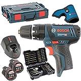 Bosch Akku-Bohrschrauber GSB 10,8-2-Li, 2 Akkus 2,0AH und Ladegerät AL1130CV in L-BOXX Gr. 1 mit Einlage MIT HOLSTER inkl. Bosch Bitsortiment 43 tlg. inkl. SW 6,8,10