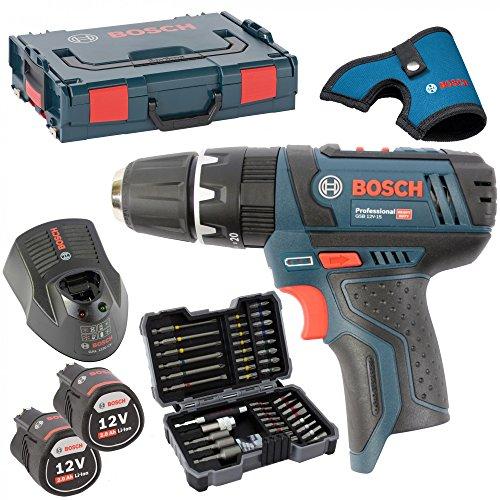 Preisvergleich Produktbild Bosch Akku-Bohrschrauber GSB 10,8-2-Li, 2 Akkus 2,0AH und Ladegerät AL1130CV in L-BOXX Gr. 1 mit Einlage MIT HOLSTER inkl. Bosch Bitsortiment 43 tlg. inkl. SW 6,8,10