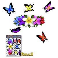 JAS Stickers® FLOWER Frangipani Butterfly Car Sticker - Multi PLUMERIA centre Animal Small Vinyl Decal Pack For Laptop Luggage Bicycle Bike Caravans Van Camper Trucks & Boats - ST00046MC_SML