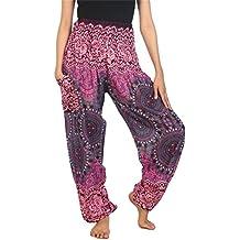 Lofbaz Mujer Harem Hippy Pantaloni Cintura Elástica bonzaai Pantalones
