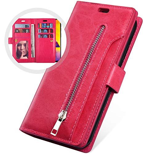 Surakey Kompatibel mit Hülle iPhone 6S iPhone 6 Hülle Leder Flip Case Wallet Tasche PU Tasche Schutzhülle Brieftasche Schutz Ledertasche mit Reißverschluss 9 Kartenfächer für iPhone 6S/6, Rote Rose Farbe Flip Case