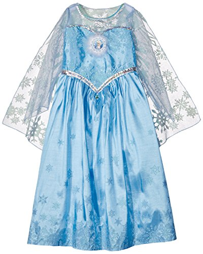 Disney Elsa Frozen Eiskönigin Deluxe Kostüm Kinder Karneval Verkleidung Mädchen (Elsa Cape Kostüm)