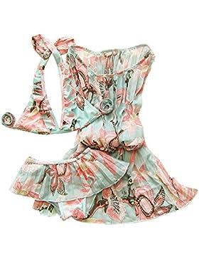 ZAMME Niñas 3pcs de la flor del traje de baño del bikini traje de baño determinado apta para nadar