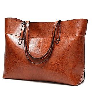 Soft Leather Handbag for Womens, Large Commute Top Handle Tote Shoulder Bag Zipper Women's Work Satchel Bag Brown