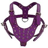 Ximger Hundegeschirr mit Nieten, Leder, 28 Kugelspitzen, Brustumfang für 65~85 cm, Beste Wahl für mittelgroße und große Hunde