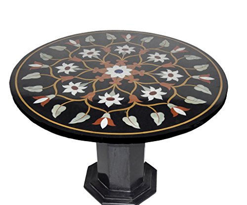 "29"" X 29"" Black Marble Center Coffee Table Top Marquetry Inlay Mosaic Home Decor"