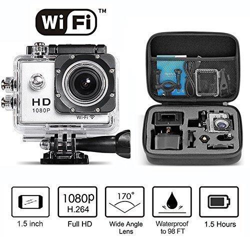 Neewer® 1080P H.264 WIFI Sportkamera mit 1.5Zoll LCD Display 12MP 170Grad Weitwinkel + Full HD Wasserdicht Actionkamera Car Recorder DVR Cam mit Zubehöre (Silber) + 8.7*7*2.6