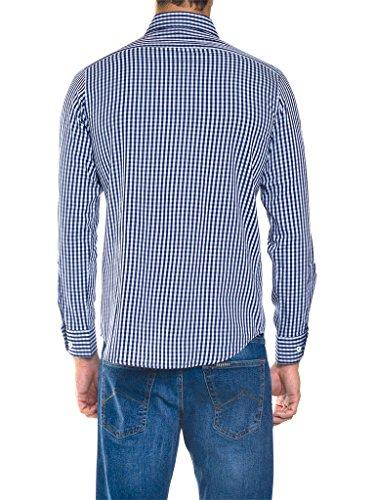 Carrera Jeans Camicia 213B1230A per Uomo, Stile Classico, Tessuto Tinto Filo, Vestibilità Normale, Manica Lunga G14 - Fantasia a quadri tinto filo blu-azzurro