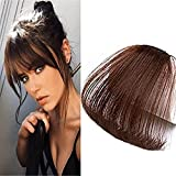 LaaVoo Frange a Clip Cheveux Naturel Extension Chatain Fonc Bangs Hair Remi Invisible Clip on Bangs non Temples