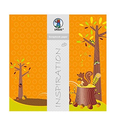 Ursus 703000115-Premium Glitter Scrapbook Paper Ardilla, Aprox. 30,5x 30,5cm, 5Hojas, diseño 115