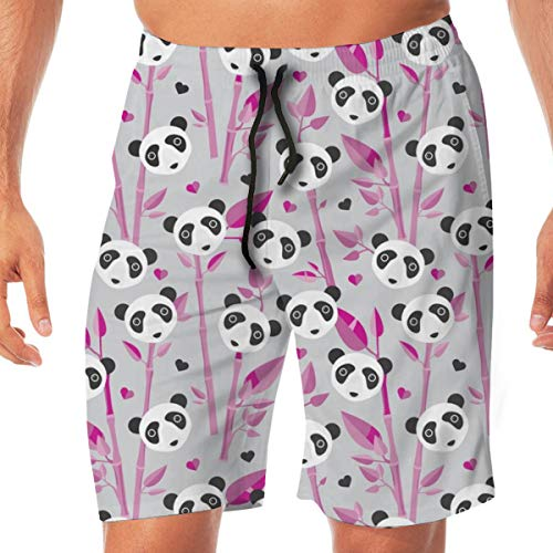 cb6123d9684 Cute Bamboo Forest Panda Love Retro Style Modern Kids Illustration Pattern  in Gray and Pink Swim