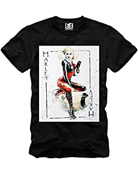 E1SYNDICATE T-SHIRT HARLEY QUINN JOKER CARD NAUGHTY PIN UP SUICIDE SQUAD S-XL BLACK