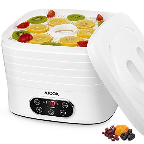 Aicok Dörrautomat Dörrgerät mit Temperaturregler von 35-70 Grad Celsius, 5 Etagen Dörrapparat Obsttrockner  mit 72 Stunden Zeitschaltuhr, Inkl. Rezeptheft, 240 Watt, Weiß