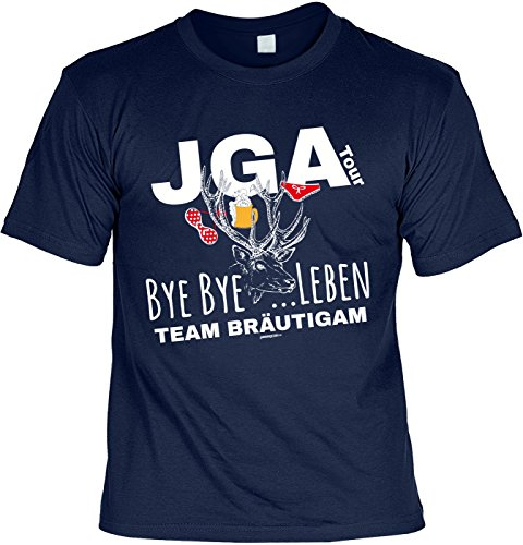 Fun T-Shirt zum Junggesellenabschied: JGA Tour, bye bye Leben . Team Bräutigam - Gruppenshirt - navyblau Navyblau