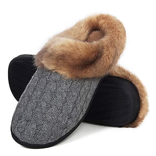 Damen Herren Hausschuhe Winter Memory Foam Pantoffeln Unisex Warm Plüsch und rutschfeste Indoor Bequem Slippers(Grau-K,44/45 EU)