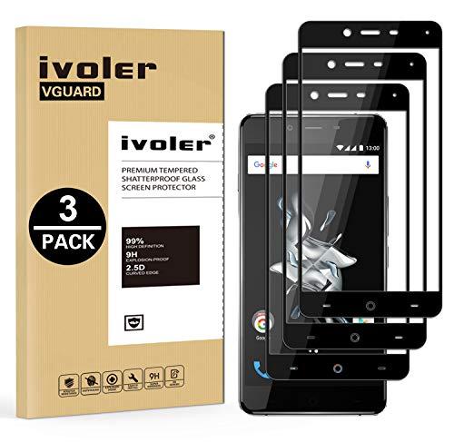 iVoler [Pack de 3] Verre Trempé pour Oneplus X, [Couverture Complète] Film Protection en Verre trempé écran Protecteur Vitre (Noir)