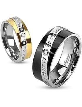 Paula & Fritz® Ring aus Edelstahl Chirurgenstahl 316L gelbgold oder schwarz, 6 oder 8mm breit Band mit You are...