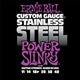 Cuerdas para guitarra eléctrica tejida de acero inoxidable Slinky de Ernie Ball Power - calibre 11-48
