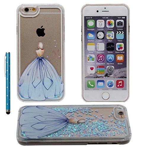 iPhone 6S Case Liquide Eau Coque, Transparente Dur Étui Protection avec Écoulement Étoiles Désign pour Apple iPhone 6 6S 4.7 inch, Beau Fille Motif Case Avec 1 stylet bleu-1