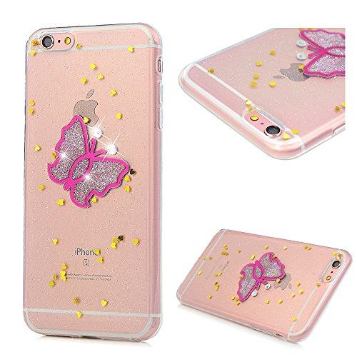 iPhone 6 Plus/6s Plus Hülle Badalink Glitter Schmetterling TPU Case Cover Ultraslim Handyhülle Schutzhülle Silikon Bumper Schutz Tasche Schale Antikratz Backcover Schmetterling