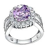 Daesar Damenring Versilbert Verlobungsring mit Stein Zirkonia Ring Purple Ring Größe:60 (19.1)