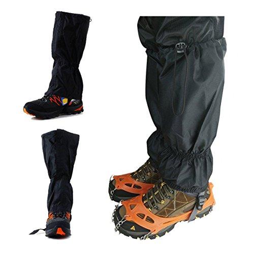 JOYOOO 1 Pair Jet Black Waterproof Gaiters Unisex Double Sealed Velcro Zippered Closure For Hiking Ski Climbing Hunting Walking Snowboard Snowshoeing Mountaineering Ice Equipment