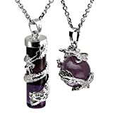 JOVIVI Dragon Wrapped Natural Amethyst Round Ball Cylinder Gemstone Crystal Pendant Necklace Gifts Set, with Gift Box