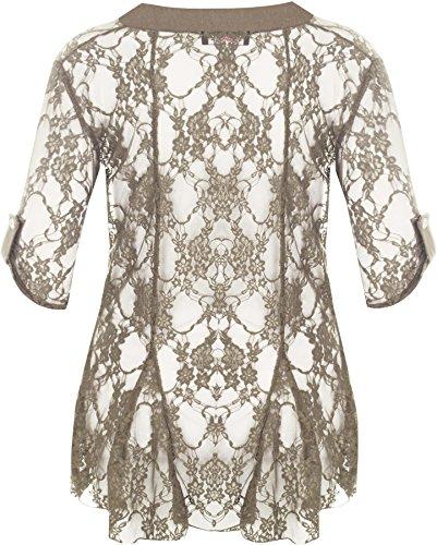WearAll - Cardigan ouvert en dentelle à manches courtes - Cardigans - Femmes - Grandes tailles 40 à 54 Moka