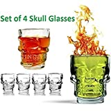 Nyrwana Crystal Clear Drink Glass Doomed Double Wall Skull Head Shot Glasses For Vodka (4 Pieces)