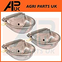 APUK 3 x Stainless Steel Water Trough Bowl Automatic Drinking Drinker Dog Horse Sheep