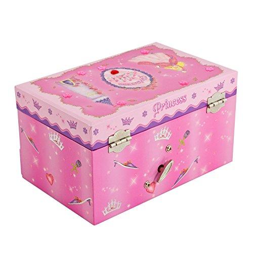 Prinzessinnen-Musik-Schmuckbox für Kinder–glitzernde Kinderspieluhr mit Ringhalter (Hot Pink); Lucy Locket - 3