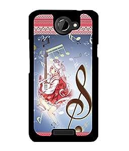 Fuson 2D Printed Music Girl Designer back case cover for HTC One X - D4146
