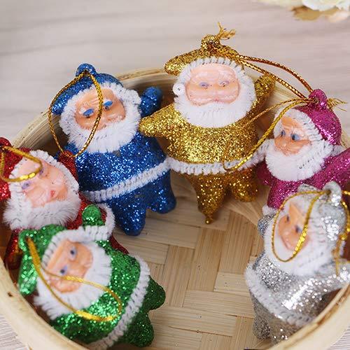 Mflbefulmel 6 Stück/Set gemischte Farbe Weihnachtsmann Hänger Weihnachtsbaum Dekoration Mini Santa Claus Puppe Hängende Ornamente für Weihnachtsbaum Dekoration, Plastik, M -
