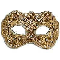Máscara de ojos veneciana de lujo Colombina Mac con macramé para mujer (oro)
