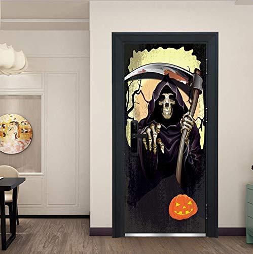 XSLIVE Türaufkleber Halloween Sichel Schädel Tod Kürbis Schlafzimmer Tür Wohnkultur Paste Vinyl Tür Aufkleber Kinderzimmer Lustige Dekorative Aufkleber 77 * 200CM