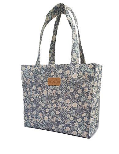 SturdyFoot Büchertasche, Musik Tasche, Tragetasche, Einkaufstasche, wasserdicht PVC beschichtet, Tote Tasche, Wachstuch Tragetasche -Blume -