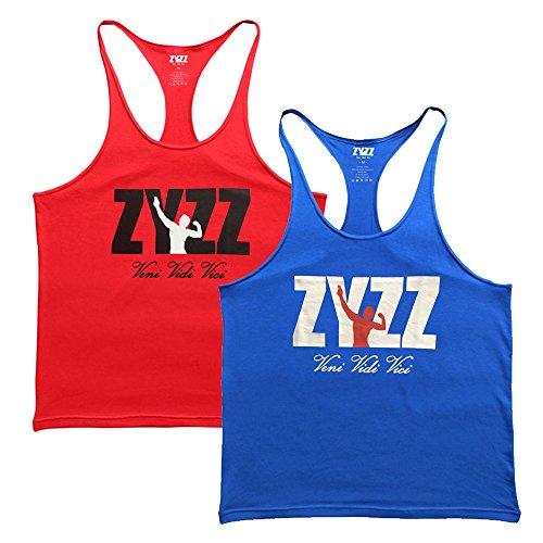 Musclealive Herren Fitnessstudio Stringer Unterhemd 1 cm Strap Dehnbares Material Aus Baumwolle ZYZZ00 Blue+Red