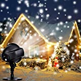 Projecteur LED Neige Extérieur Intérieur, Lampe de Décoration de Noël Extérieur,Lampe Projecteur LED pour Fête, Mariage, Éclairage de scène, Lumières Blanc Chaud,Lampe Étanche, Animée et Statique