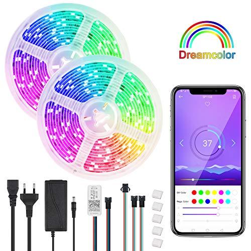 DreamColor Led Strip 10m, Bluetooth Rainbow led streifen with APP, wasserdichte 2811 Led Stripes Lichtband mit Multicolor Chasing Effekt für Haus Küche Schlafzimmer