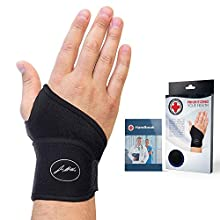 Doctor Developed Premium Copper Lined Wrist Support/Wrist Strap/Wrist Brace/Hand Support [Single] & Doctor Written Handbook— Relief for Wrist Injuries, Joint Disease, Sprains & More