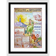 ADVERT ALCOHOL ABSINTHE BEUCLER MAN CRAWLING MOUNTAIN FRAMED ART PRINT B12X5472