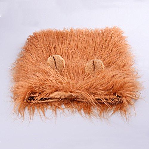 Imagen de miluck lion mane peluca para perro y gato disfraz con orejas mascota ajustable cómodo fancy león pelo perro ropa para halloween actividad de fiesta del festival de pascua dog light brown  alternativa
