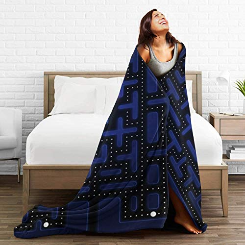FASHIONDIY Pacman-Decke, übergroß, warm, für Erwachsene, superweiche Decke mit weichem Anti-Pilling Flanell für Erwachsene und Kinder, 3D-Druck, Schwarz, 60